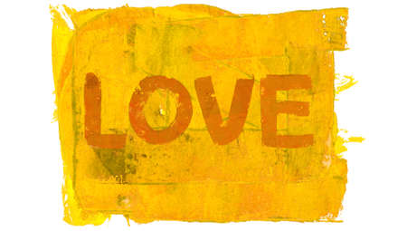 Yellow love word of paint abstract background