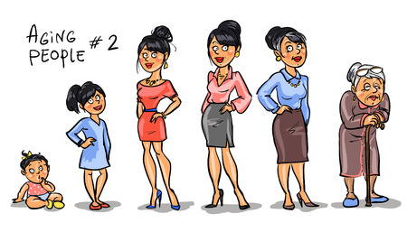 Aging people - set 2, Women at different age. Hand drawn cartoon women, family members isolated, sketch