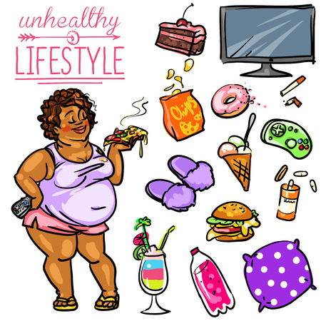 Unhealthy Lifestyle. Hand drawn cartoon collection, clip-art