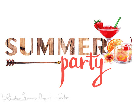 Ilustración de Watercolor Clip art - Summer Label with wooden letters and objects around, isolated on white. - Imagen libre de derechos