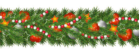 Illustration for Christmas and happy New Year garland and border of Christmas tree branches decorated with holly Berries and silver baubles, stars and beads. Holiday decoration isolated on white background. Vector illustration. - Royalty Free Image