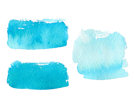 Illustration pour Vector collection of natural blue watercolor rectangle labels, shapes on white background. Hand drawn blue water painte stains set. - image libre de droit