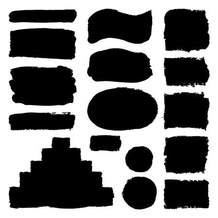 Illustration pour Hand drawn abstract black paint brush strokes. Vector set collection of shapes isolated on white background. Round, oval, ellipse, pyramid, circle, rectangle elements for design. - image libre de droit