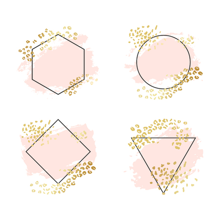 Illustration for Abstract geometric vector background, brush paint illustration, frame, element, shape set. Pink ink brush stroke with rich golden exotic leopard animal skin texture - Royalty Free Image