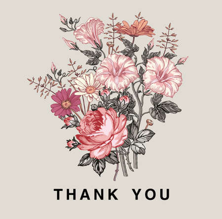 Vektor für Thank you love. Wedding marriage invitation bouquet. Beautiful blooming flowers Vintage greeting card Frame Drawing engraving Petunia Chamomile Rose isolated floral Wallpaper. Vector Illustration. - Lizenzfreies Bild