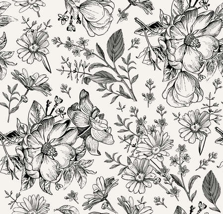 Illustration pour Seamless pattern. Realistic blooming isolated flowers Vintage fabric background. Rosehip dogrose brier chamomile croton wildflowers. Wallpaper baroque. Drawing engraving. Vector victorian Illustration - image libre de droit