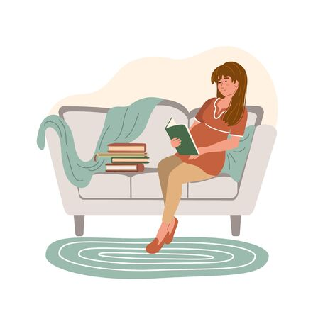 Vektor für Cartoon pregnant woman reading a book and sitting on the sofa in modern interior. Happy pregnancy. Home activity. Stay home and virus quarantine concept. Vector illustration drawing in flat style   - Lizenzfreies Bild