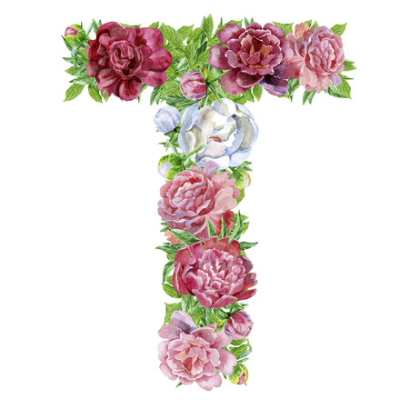 Letter T of watercolor flowers