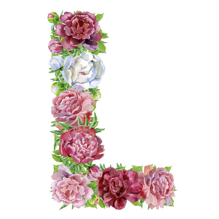 Photo for Letter L of watercolor flowers, isolated hand drawn on a white background, wedding design, english alphabet - Royalty Free Image