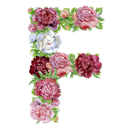 Letter F of watercolor flowers, isolated hand drawn on a white background, wedding design, english alphabet
