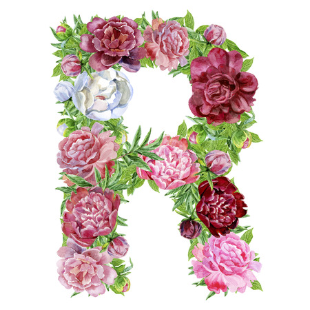 Letter R of watercolor flowers, isolated hand drawn on a white background, wedding design, english alphabet