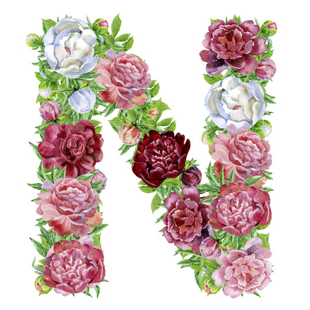 Foto de Letter N of watercolor flowers, isolated hand drawn on a white background, wedding design, english alphabet - Imagen libre de derechos