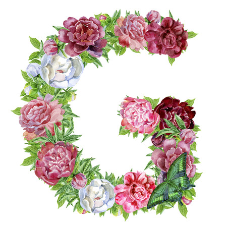 Photo for Letter G of watercolor flowers, isolated hand drawn on a white background, wedding design, english alphabet - Royalty Free Image