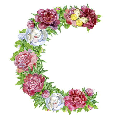 Photo for Letter C of watercolor flowers, isolated hand drawn on a white background, wedding design, english alphabet - Royalty Free Image