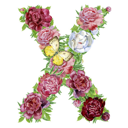 Letter X of watercolor flowers, isolated hand drawn on a white background, wedding design, english alphabet