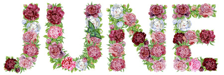 Word JUNE of watercolor flowers, isolated hand drawn on a white background, wedding design, english alphabet