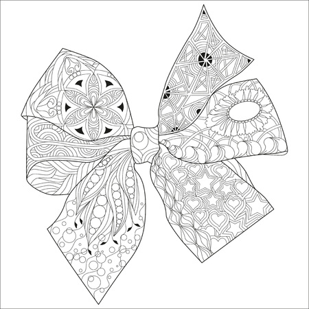 Illustration pour Bow-knot zentangle styled with clean lines for for coloring book, t-shirt design, tattoo and other decorations - image libre de droit