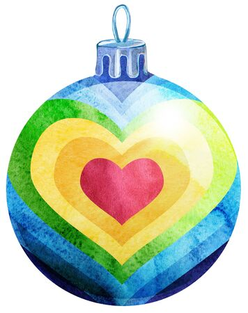 Photo pour Watercolor Christmas rainbow ball isolated on a white background. - image libre de droit