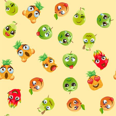 Illustration pour Seamless pattern exotic fruits pitahaya, pear, pineapple, apricot, apple, fruit cherry red Funny cute faces character - image libre de droit