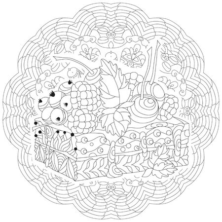 Illustration for Vector piece of cake on a patterned round substrate. Hand drawn illustration for coloring book for adult, doodle style. Coloring pages. - Royalty Free Image