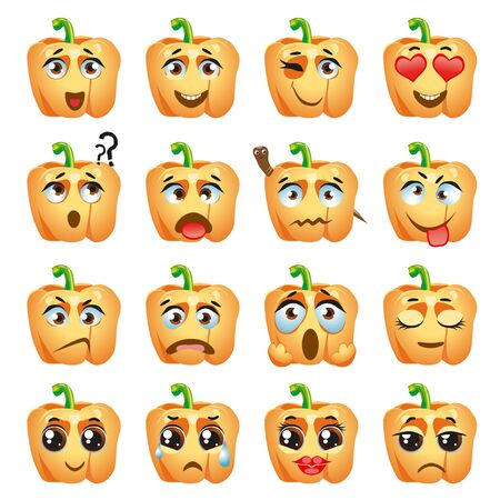 Illustration for Set of vector stickers, emojis with cute orange pepper - Royalty Free Image