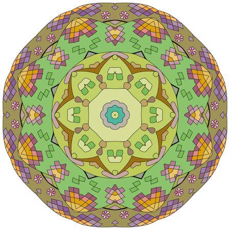 Illustration pour Decorative round ornaments. Unusual flower shape. Oriental vector, Anti-stress therapy patterns. Weave design elements. Yoga logos Vector. - image libre de droit