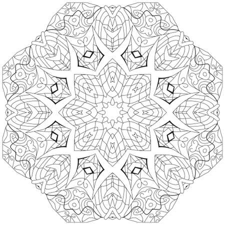Illustration for Vector Adult Coloring Book Textures. Hand-painted art design. Adult anti-stress coloring page. Black and white hand drawn illustration for coloring book. - Royalty Free Image
