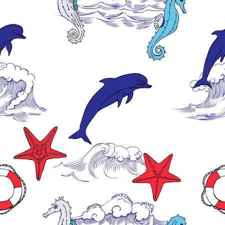 Nautical seamless pattern with  seahorses and  dolphins. Hand drawn elements for summer holidays. Travel, sea and ocean. Vector Illustration