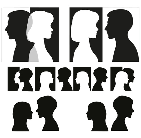 Illustration pour Set of black couple silhouettes   - image libre de droit