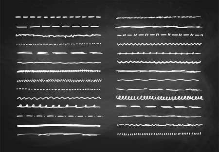 Illustration pour Marker hand drawn vector line border set and scribble design elements on a blackboard background, vector illustration - image libre de droit