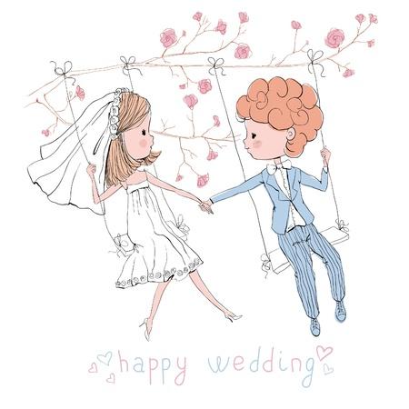 wedding set bride and groom on swing