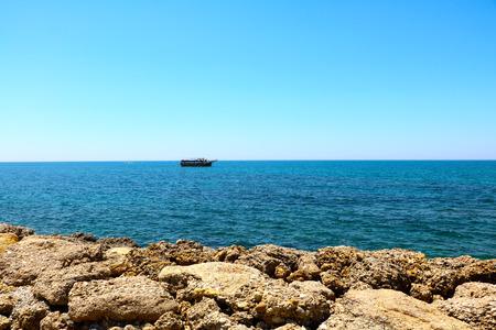Blue Mediterranean sea in the morning.