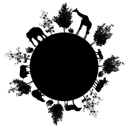 Ilustración de Silhouette of trees and wild animals walking around the world - Imagen libre de derechos