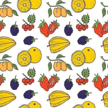 Fruit and Vegetables Hand Drawn Color Seamless