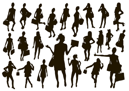 477ced151f Black women with bags silhouette set. Travel and shopping female vector  illustration.
