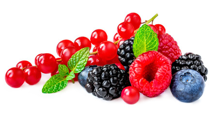 Foto de Berries mix isolated on white background. Raspberry, Red currant, Blueberry, Blackberry with mint leaves , wide photo - Imagen libre de derechos