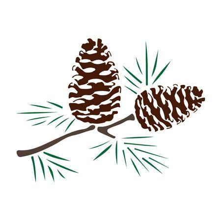 Illustration pour pine cones silhouette color - image libre de droit