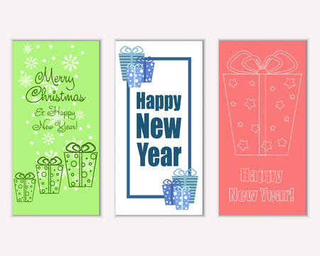 Illustration pour Vector illustration of Merry Christmas and Happy New Year greeting cards - image libre de droit