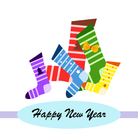Illustration pour christmas card, christmas sock, vector background - image libre de droit