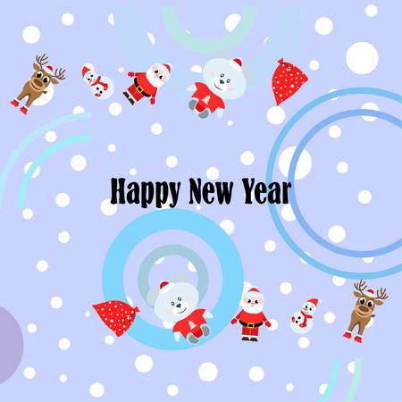 Illustration pour Christmas card, Santa snowman deer bear bag, vector background - image libre de droit