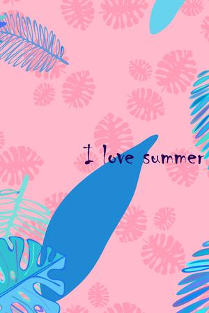 Illustration pour Leaves of tropical plants. Color summer postcard, summer vacation. Vector background. - image libre de droit