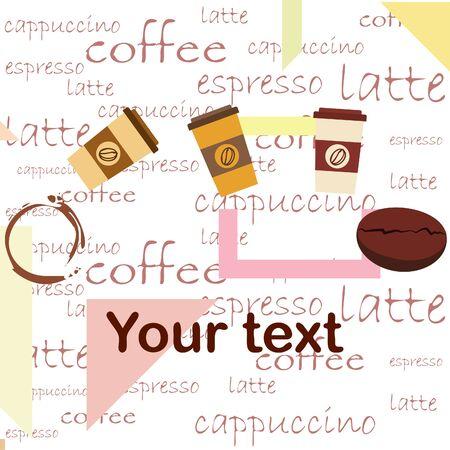Illustration pour Coffee cup, coffee grains, breakfast concept. Drinks menu for restaurant, vector background. - image libre de droit