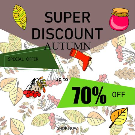 Illustration pour Autumn sale banner template design, Special offer. Ad concept. Vector illustration. - image libre de droit