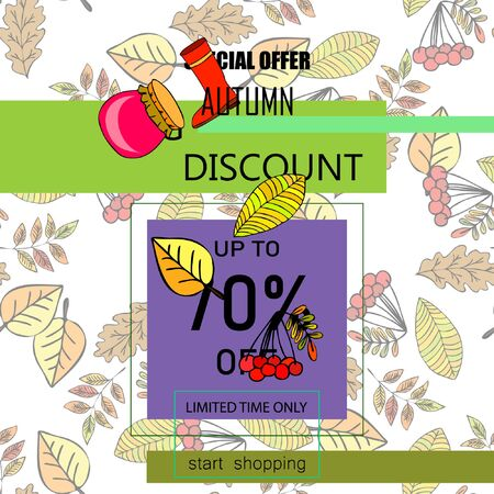 Illustration pour Autumn sale banner template design, Special offer. Ad concept. Vector illustration - image libre de droit