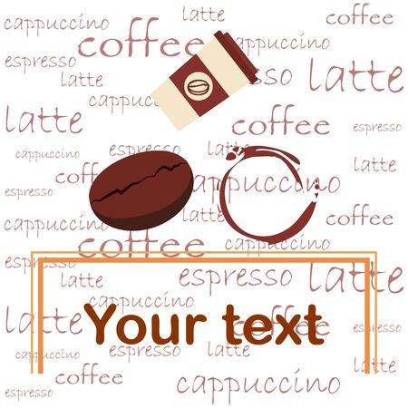 Ilustración de Coffee cup, coffee grains, spilled coffee. Breakfast concept. Drinks menu for restaurant, vector background. - Imagen libre de derechos