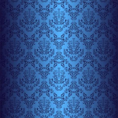 Illustration pour Seamless dark blue wallpaper in style retro  - image libre de droit