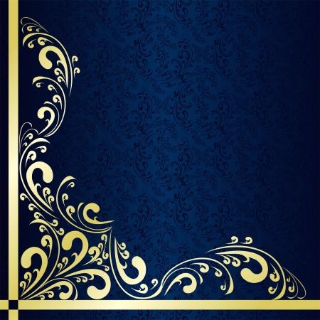 Illustration pour Luxury dark blue Background decorated a gold border  - image libre de droit