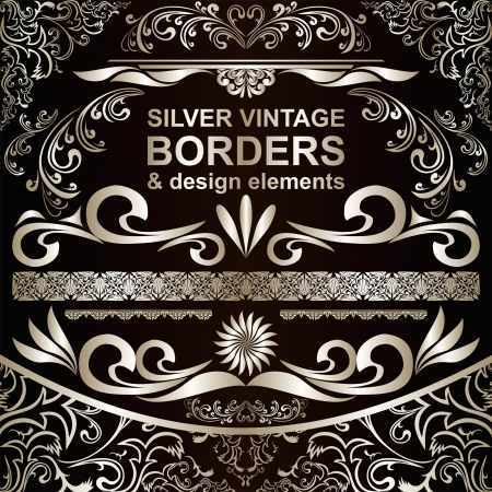 Silver vintage Borders and design elements
