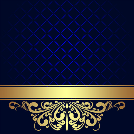 Illustration for Navy blue Background decorated the golden royal Border   - Royalty Free Image