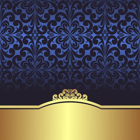 Illustration for Invite design: blue ornamental Background with golden Border - Royalty Free Image